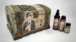 Decoupage  trunk for a man with a rust effect  cadence  DIY tutorial...