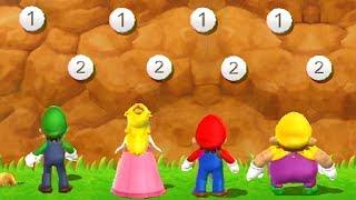 Mario Party 9 - All Tough Minigames - Luigi vs Mario vs Peach vs Wario