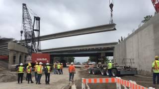SB I-75 Over Goddard Setting Span 1 Beams (Timelapse)