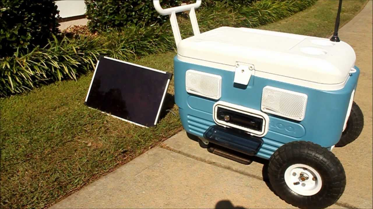 Solar Powered Stereo Cooler With Monster Tires And Never