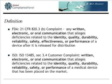 Complaint Handling in Compliance with FDA and ISO Regulation