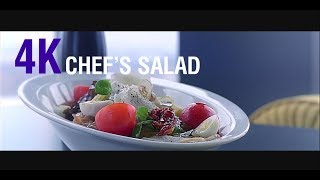Commercial for a restaurant - serving chef's salad in 4k (food court