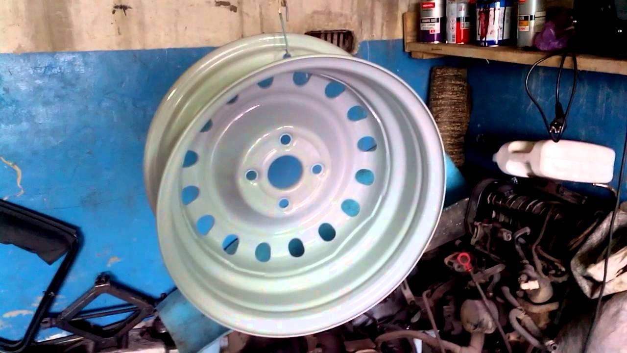 Покраска штампованных дисков ( до и после)