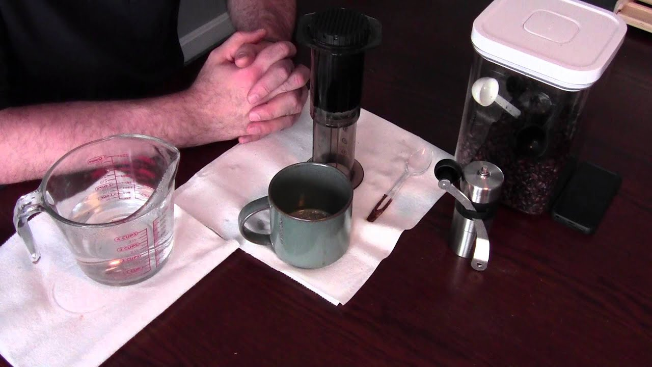 AeroPress coffee maker and Porlex Mini hand grinder - YouTube