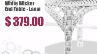 White Wicker End Table - Lanai - Wickerparadise.com