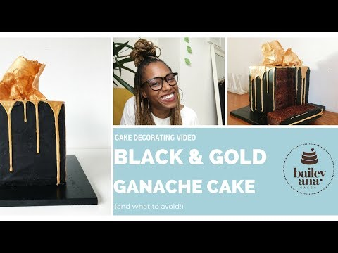 Black and Gold Drip Cake Tutorial with a White Chocolate Sail