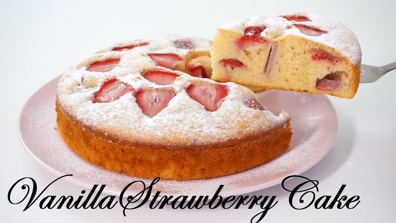 Soft And Fluffy Vanilla Strawberry Cake