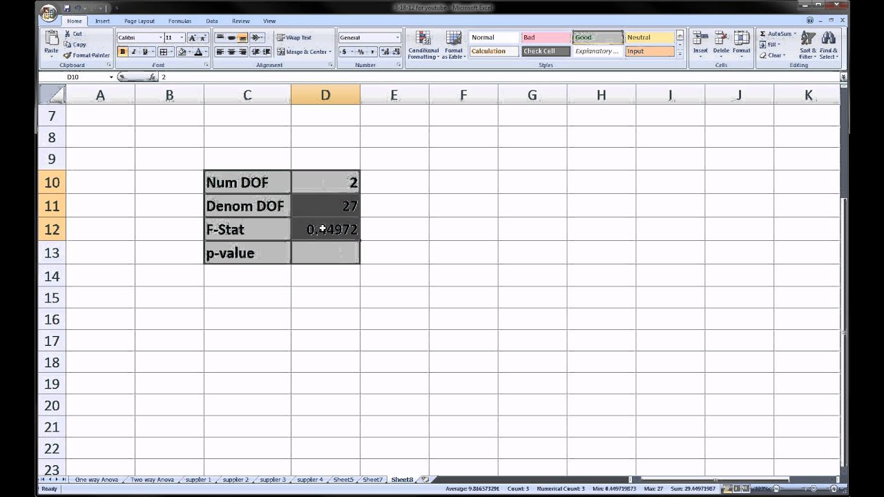 Excel - F statistic and P value - YouTube