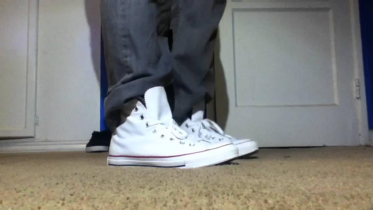 1892e0e6077 Chuck talyor all star converse white on feet with - YouTube