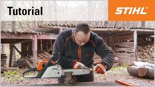 Sharpening the chain and depth gauge with the STIHL 2-in-1 file holder