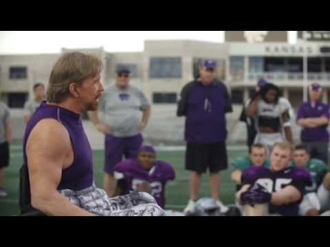 Motivational Coach Kevin Saunders speaking to Kansas State University Football Team in Stadium