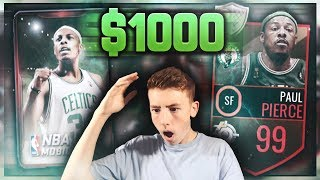 $1000 TEN 99 OVERALL PAUL PIERCE PACKS! MOST INSANE NBA LIVE MOBILE PACK OPENING OF ALL TIME!