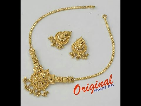 Pure Gold Light|Weight|Short|Necklace| with|Earrings| Designs