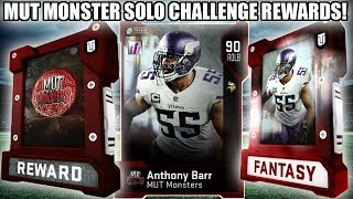 FREE 90 MONSTER! MOST FEARED MUT MONSTER SOLO REWARDS! | MADDEN 19 ULTIMATE TEAM