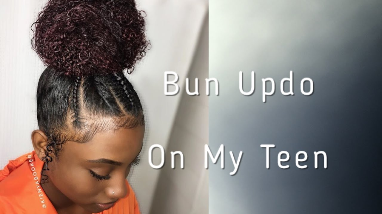 Quick And Easy Bun Updo W Braids On My Teenager Natural Hair