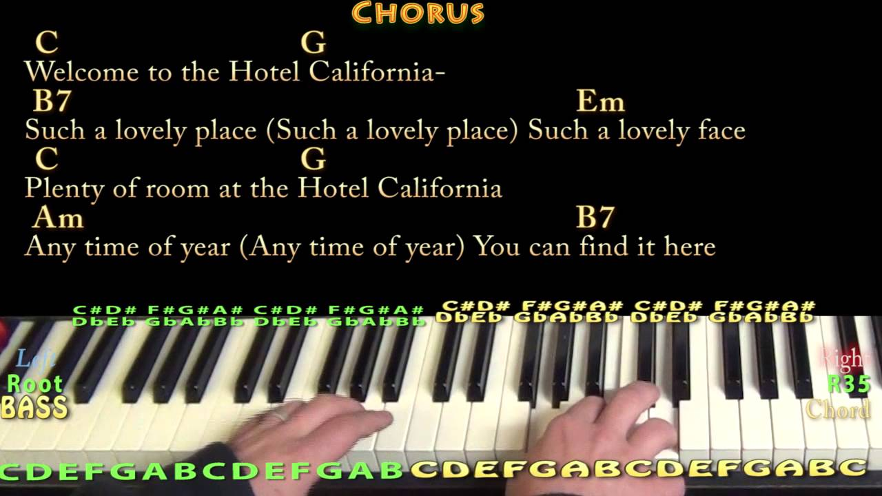Hotel california piano cover lesson in em with chordslyrics hotel california piano cover lesson in em with chordslyrics hexwebz Images