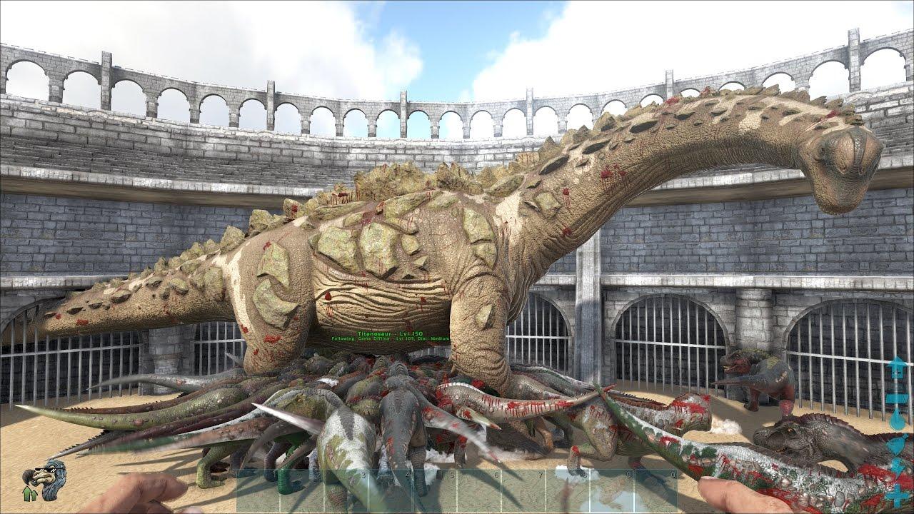 ARK: Survival Evolved – Lấy 100 con khủng long T-Rex đánh nhau với Titanosaur =))