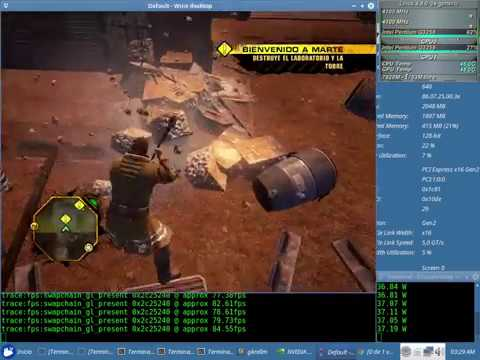 Red Faction Guerilla Test NVENC x64 + Sound (Pentium G3258) con el Wine 2.13 + Nvidia 384.59