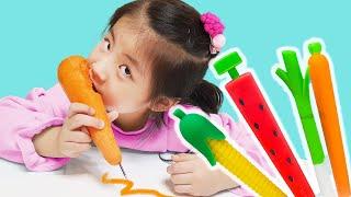 나도 채소 볼펜을 만들어야지!! 서은이의 이쁜 채소 과일 볼펜 샤프 엄마의 직접 만들기 수박 당근 딸기 옥수수 채소 Making Vegetable and Fruits Pen