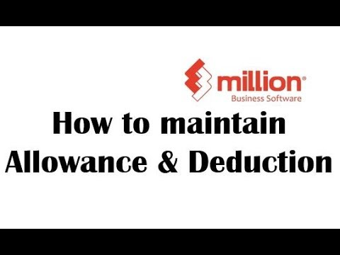 Payroll Tutorial How To Maintain Allowance Deduction In Million Software