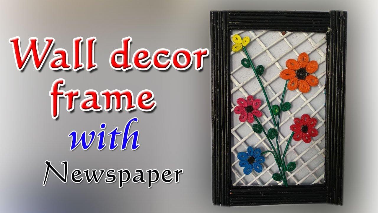 Diy Wall Decor Frame Newspaper Craft Kruthi Diy Craft Ideas