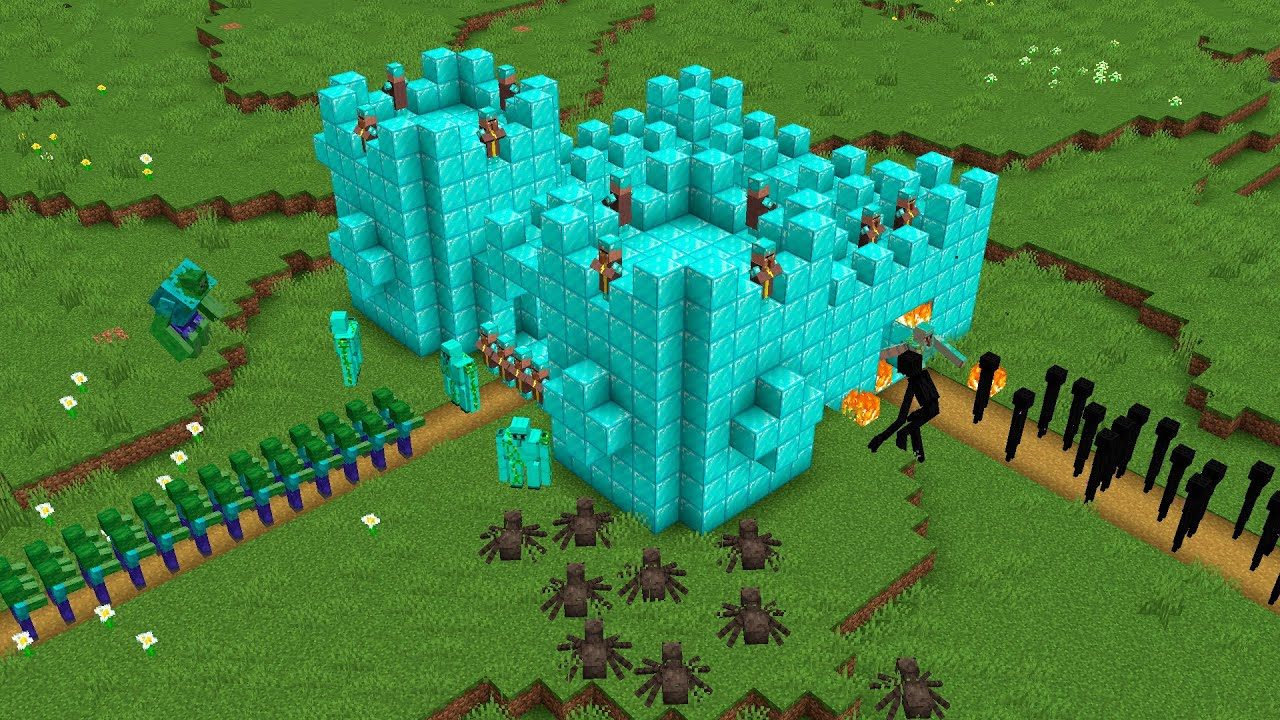 DIAMOND CASTLE PROTECTS MONSTERS MINECRAFT BATTLE