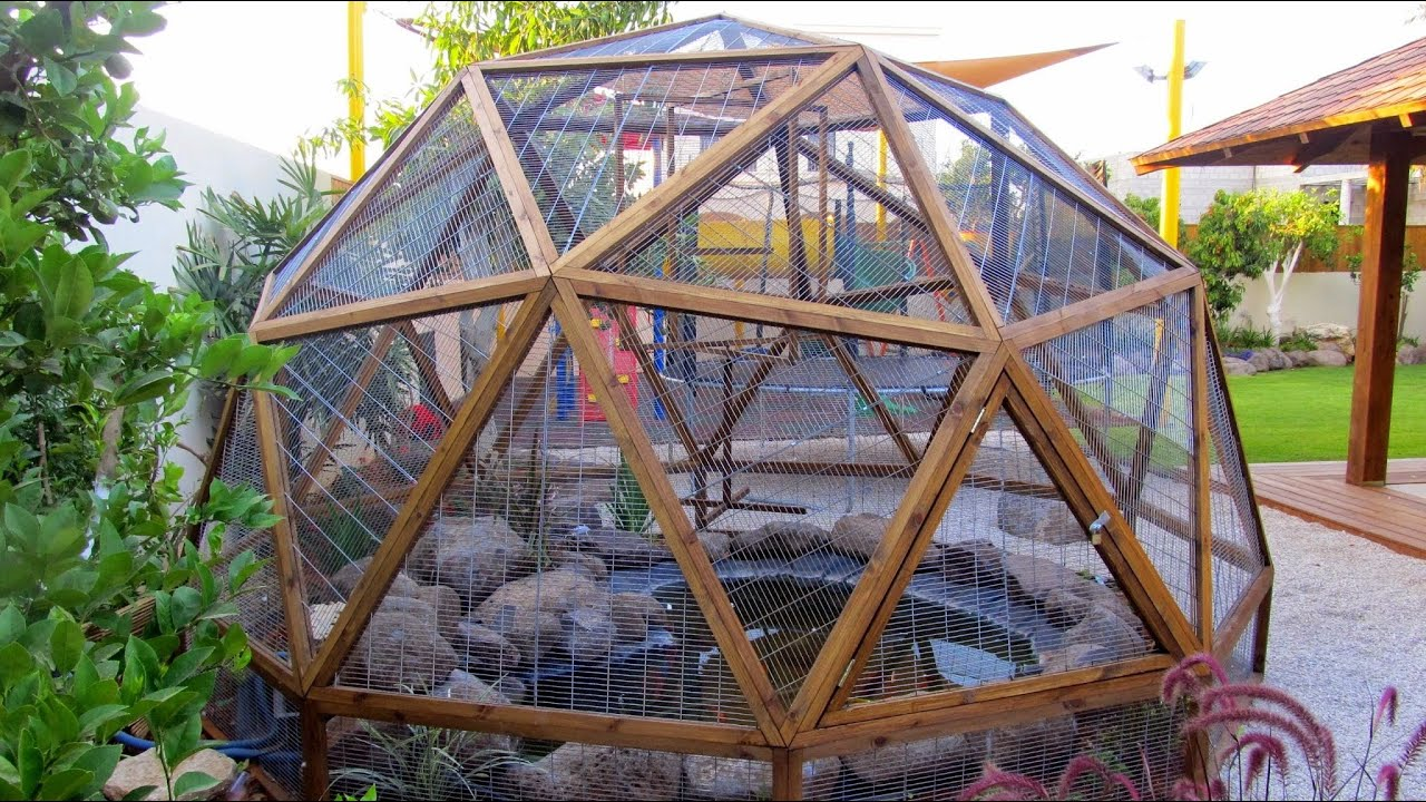 Geodesic Dome From Wood Construction Stage 4 Cage Wire