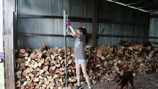 Stacking Firewood @ the Ole Buck Ranch.