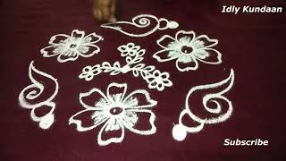 Daily kolam Design with 7x4 Dots | Friday Rangoli Design with Dots | Latest Chukkala Muggulu