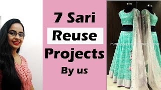 7 Old Saris converted into 7 New Dresses| Design Challenges and solutions| Sari Reuse Part-6