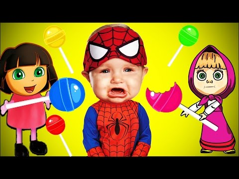 Thumbnail: Dora & Masha - Spiderman Bad Baby Crying Lollipops Colors Learn Finger Family Collection