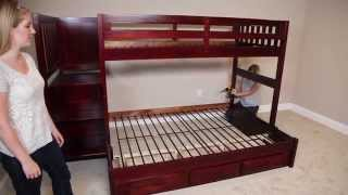 Building the Discovery World Furniture Merlot staircase mission bunk bed with twin over twin beds from FactoryBunkbeds.com is