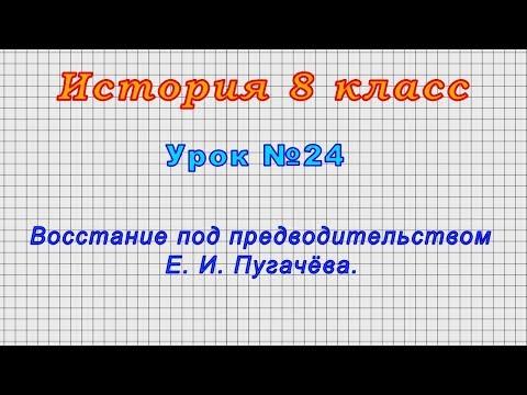 История 8 класс (Урок№24 - Восстание под предводительством Е. И. Пугачёва.)