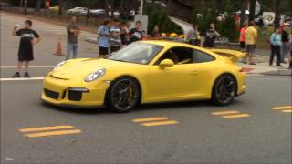 Exotic cars leaving the 2014 Driven by Purpose D.A.R.E. show - 9/21/14