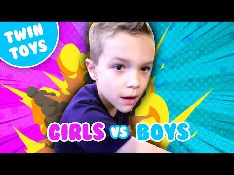 Nerf War:  Boys vs Girls 3