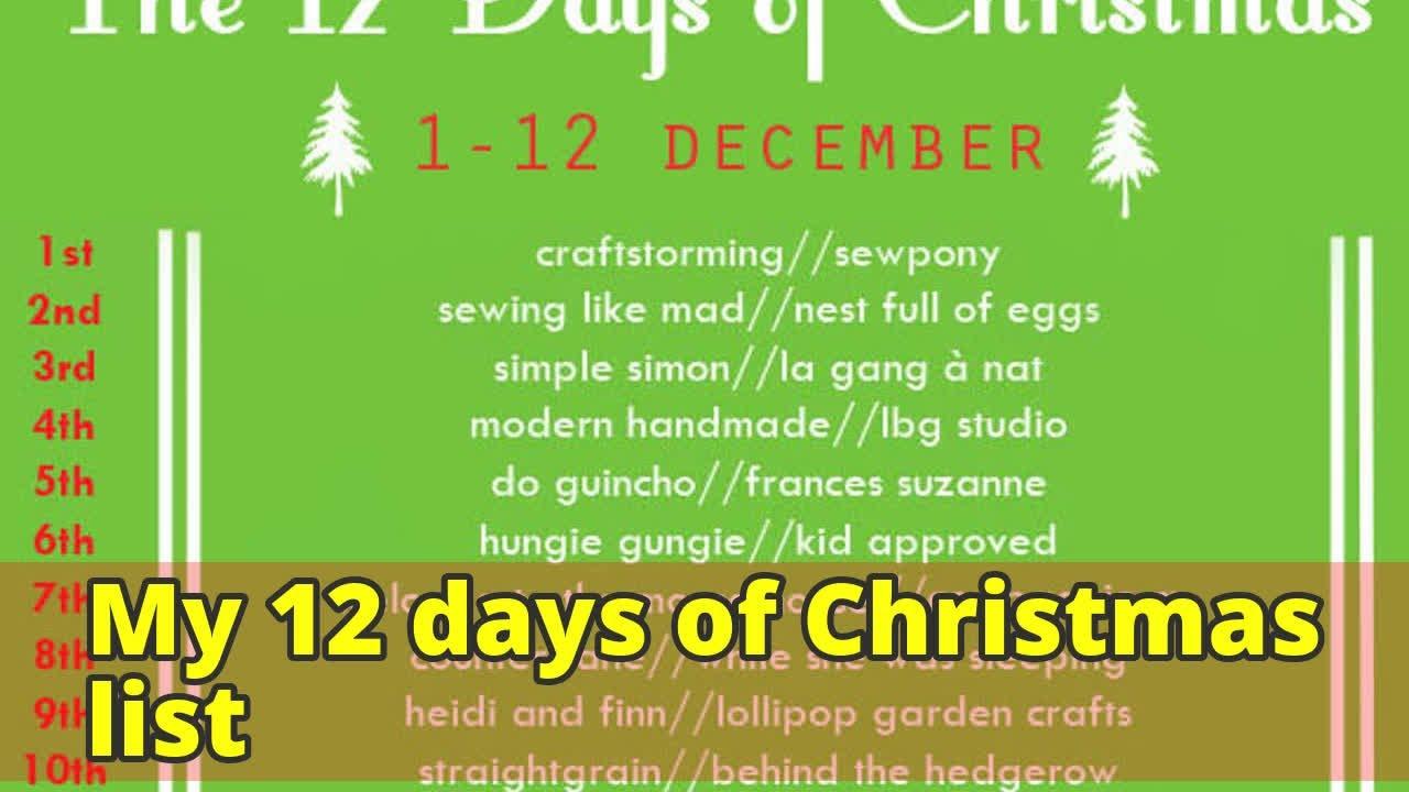 my 12 days of christmas list