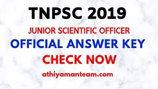 TNPSC Answer Key 2019 |TNPSC JSO Answer Key| FORENSIC SCIENCES DEPARTMENT Exam 2019
