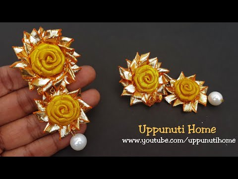 How To Make Designer Yellow Rose Gota Earrings At Home | DIY | Paper Jewelry Making | Uppunuti Home