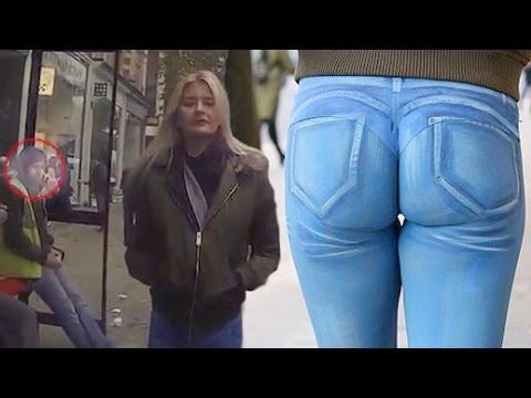 Model Wears Painted On Jeans In Public