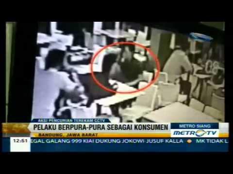 Aksi Pencurian Tas Laptop di Bandung Terekam Kamera CCTV