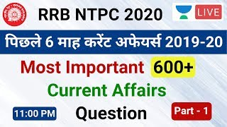 #1 | RRB NTPC 2020 | Last 6 months Current Affairs 2019-20 | GA by Vimlesh Sir | Unacademy Live