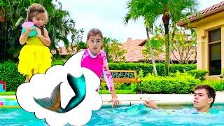 야외에서 활동적인 게임에 대한 어린이를위한 나스티아와 아르 템 비디오