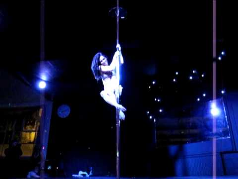 Jenyne Butterfly performing at Deb Riley's launch of The British Pole Dance Academy.