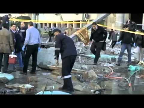 Bomb blast on CCTV  Explosion at Cairo security HQ captured on camera