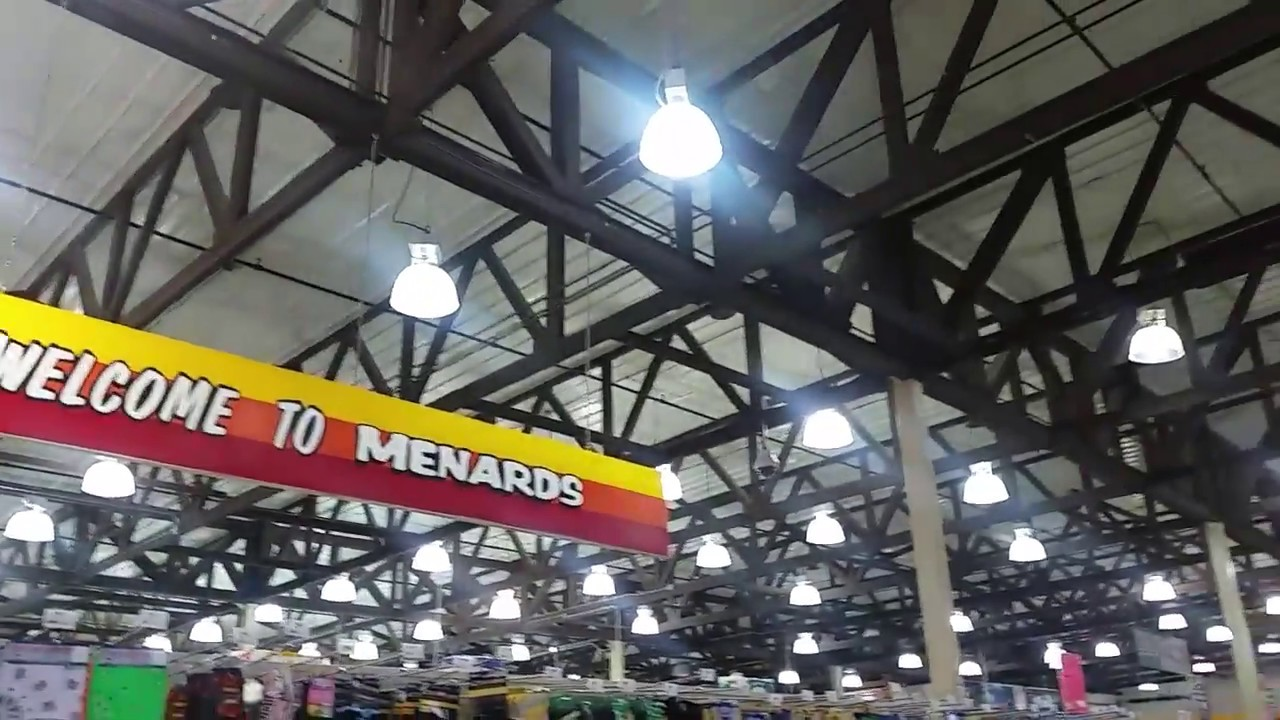 ceiling fan lighting dept in an old school menards
