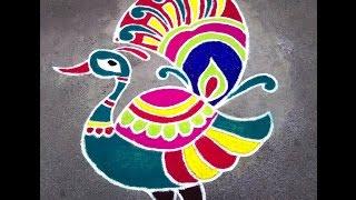 Peacock Rangoli Designs 2014
