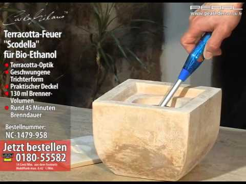 """carlo-milano-terracotta-dekofeuer-""""scodella""""-für-bio-ethanol"""