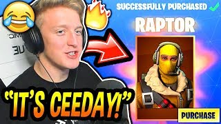 "Tfue BUYS - LOVES Son 'NOUVEAU' ""RAPTOR"" SKIN! (CEEDAY'S SKIN!) Fortnite FUNNY - Moments EPIC"