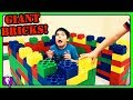 Giant LEGO Bricks Castle Build! Surprise for HobbyKids