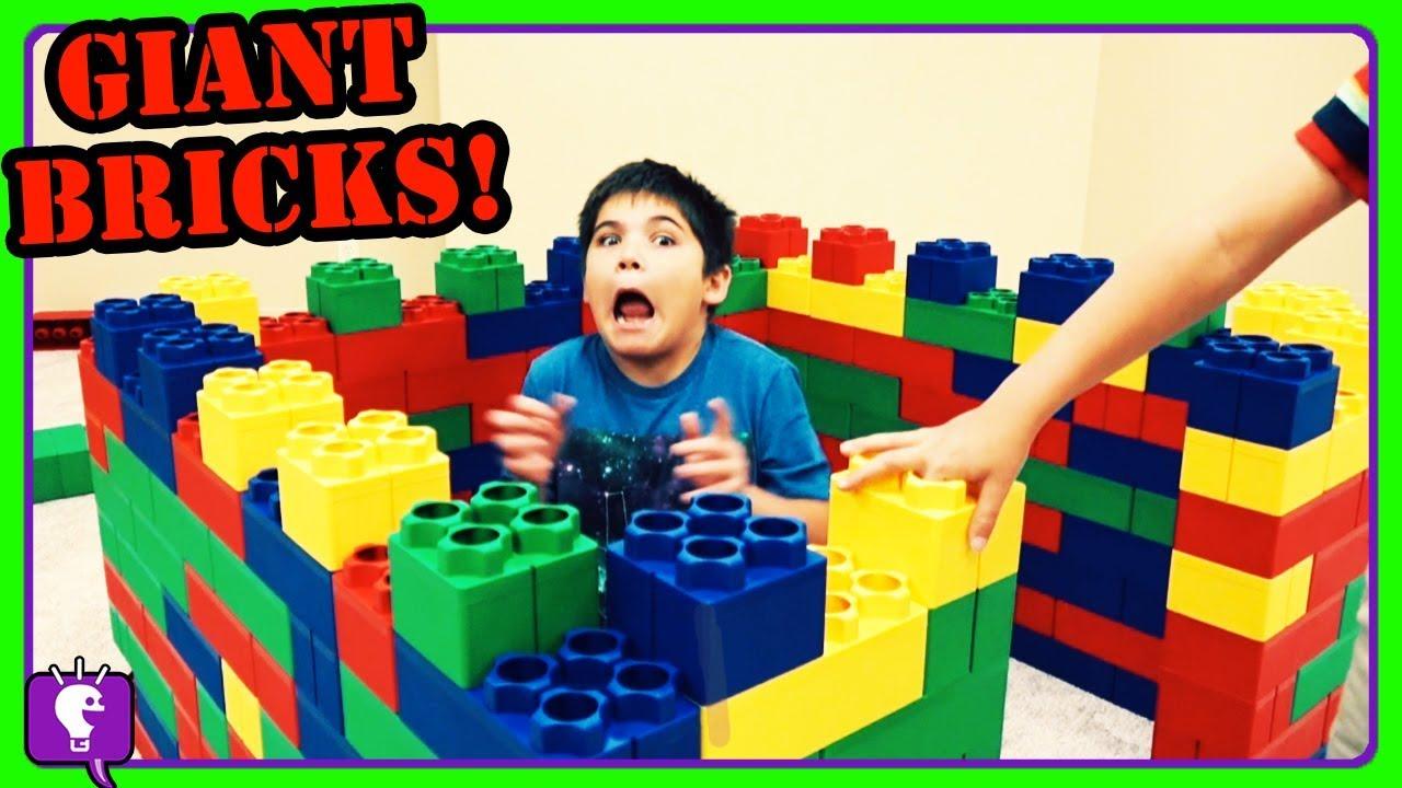 Giant LEGO Bricks Castle Build! Surprise for HobbyKids